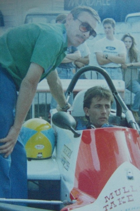 Noel With Race Engineer Terry Russell - British Formula Vauxhall 1990