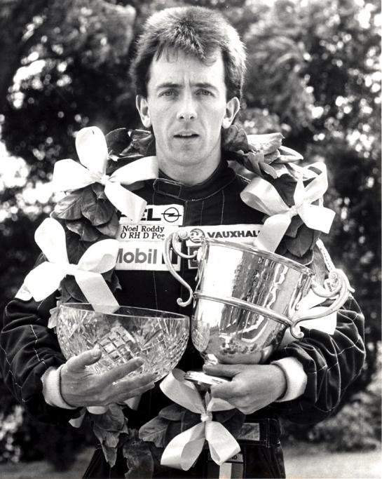 Noel Winning on Irish Formula Opel Debut 1991 with the Smithfield Trophy